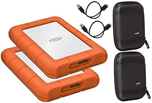 LaCie 2 Pack 1TB Rugged Mini USB 3.0 (USB 2.0 Compatible) External Hard Drives Compatible with Mac and PC – Water and Drop Resistance with Compact Pocket Cases