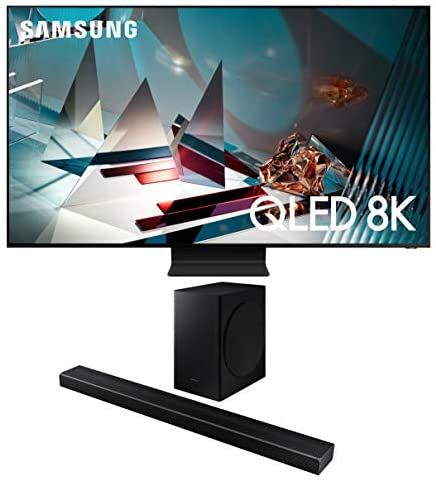 Samsung QN75Q800TA 8K Ultra High Definition Smart HDR QLED TV with a Samsung HW-Q60T Wireless 5.1 Channel Soundbar and Bluetooth Subwoofer (2020)