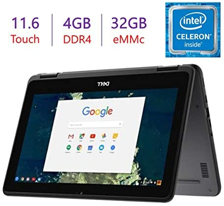 Dell 2-in-1 11.6-inch Touchscreen Chromebook Laptop, Intel Quad-Core Celeron N3450 Up to 2.2GHz Processor, 4GB DDR4 RAM, 32GB eMMC, WiFi, Bluetooth, Webcam, Chrome OS, 64GB Micro SD Card
