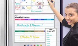 Dry Erase Calendar for Fridge, Ohuhu Set of 3 Magnetic Whiteboard Calendars 17×12″ Monthly Calendars, 17×12″ Weekly Organizer & 5×12″ Daily Notepad with 6 Markers and a Eraser for Kitchen Refrigerator