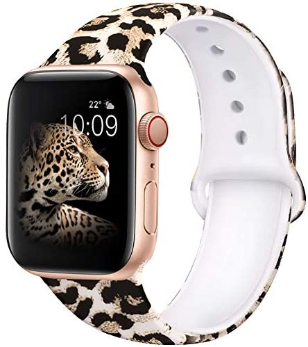 EXCHAR Compatible with Apple Watch Band 40mm Series 4 Series 5 Fadeless Pattern Printed Floral Bands Silicone Replacement Band for iWatch 38mm Series 3/2/1 for Women Men S/M Leopard 01