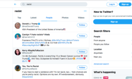 Searching Twitter for 'racist' shows you President Donald Trump's account