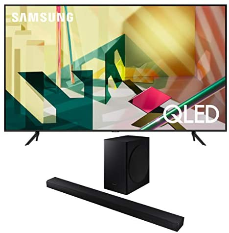 Samsung QN82Q70TA 82″ QLED Ultra High Resolution Smart HDR 4K TV with a Samsung HW-T650 Bluetooth Soundbar with Dolby Audio Wireless Subwoofer (2020)