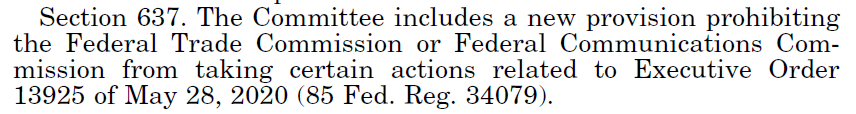 House Government Appropriations Bill Would Bar FTC & FCC From Doing Anything Related To Trump's Inane Anti-230 Executive Order
