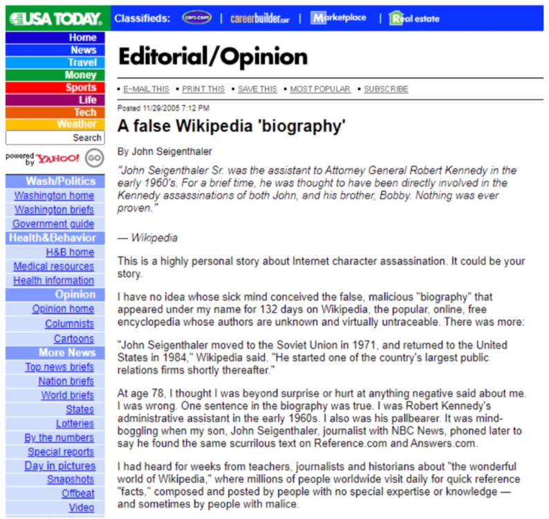 Content Moderation Case Study: Can An Open Encyclopedia Handle Disinformation? (2005)