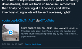Tesla bears yearn for China dam collapse to 'take out' Giga Shanghai — but there's a catch