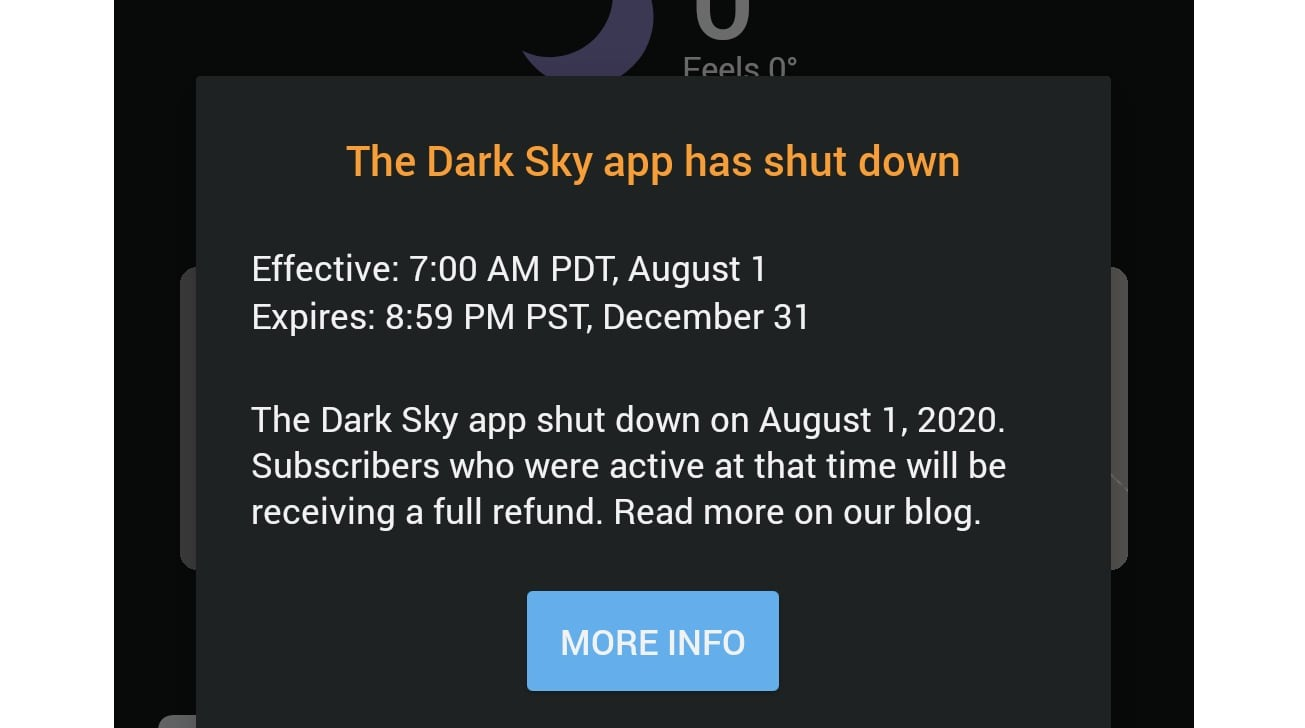 Apple sunsets Dark Sky on Android and Wear OS