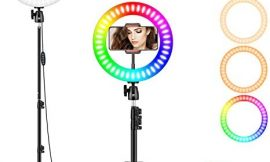 10″ RGB Selfie Ring Light, LED Ringlight 3200-6500K with Tripod Stand & Cell Phone Holder for Live Stream/Make Up/YouTube/TikTok/Photography/Video Recording Compatible with iPhone & Android Phone