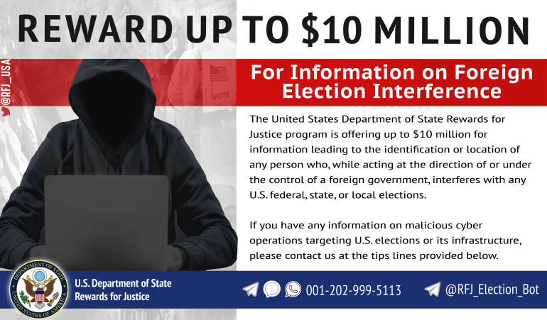 US offers $10 million reward for hackers meddling in US elections