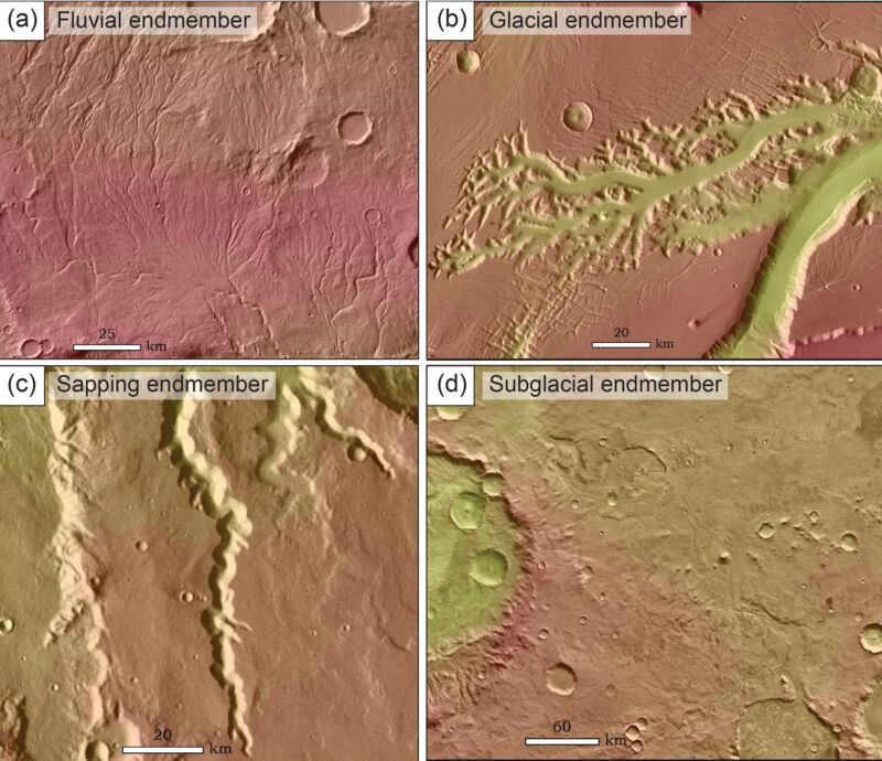 Many of Mars' stream valleys might have formed under an ice sheet
