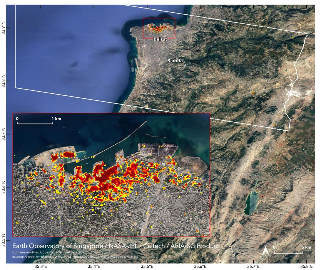 NASA maps the damage from the Beirut explosion