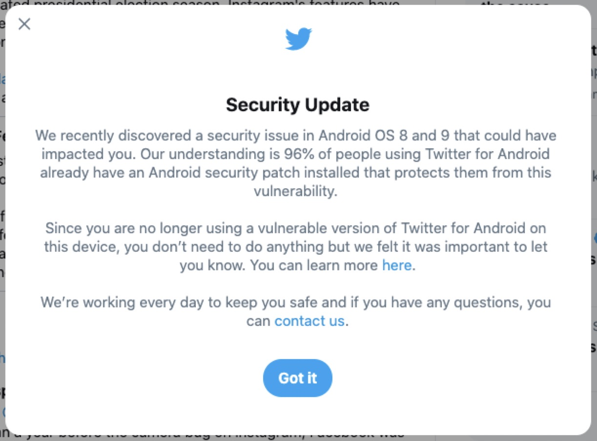 Twitter says Android security bug gave access to direct messages – TechCrunch
