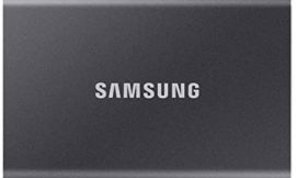 SAMSUNG T7 Portable SSD 1TB – Up to 1050MB/s – USB 3.2 External Solid State Drive, Gray (MU-PC1T0T/AM)