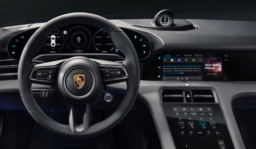 Porsche Taycan car gains podcasts and Apple Music time-synced lyrics