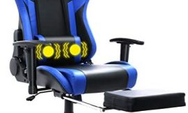 HomeMiYN Gaming Chair, Professional Recliner Swivel Chair, Adjustable Ergonomic High Back Professional Computer Chair, PU Leather with Headrest & Lumbar Support (Blue+Massager&footrest)