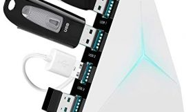 USB Hub 3.0 Vertical Data Hub with Long Cord – 4 Port Black & White Charger Splitter USB Extension Cable – Extra USB Ports for Devices Such as Xbox One PS4 PS5 Mac PC Laptop Desktop