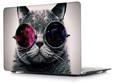 Hard Case for MacBook Air New 13.3 Inch 2018 with Touch ID Model A1932 – L2W Laptop Computers Accessories Plastic Smooth Print Protective Creative Design Cover,Glasses Cat