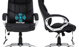 Executive Home Office Desk Chair,High-Back Leather Computer Chair Massage Ergonomic Desk Chair with Lumbar Support Armrests,Height Adjustable Swivel Rolling Task Chair for Meeting Women Adults,Black