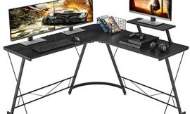 Mr IRONSTONE L-Shaped Desk 50.8″ Computer Corner Desk, Home Gaming Desk, Office Writing Workstation with Large Monitor Stand, Space-Saving, Easy to Assemble, Black
