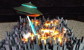UFO Destroys the City with Death Ray-DIORAMA-How To Make