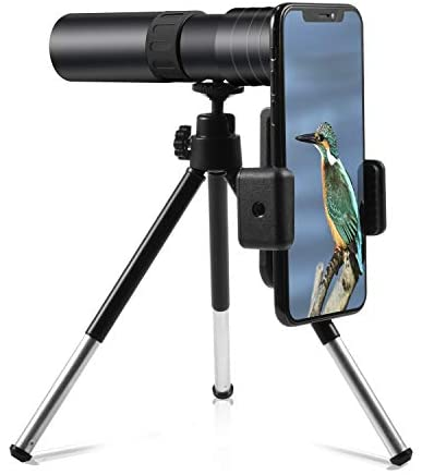 4K 10-300x40mm Super Telephoto Zoom Monocular Telescope Smartphone Holder Phone Clip&Tripod Portable for Bird Watching/Hunting/Camping/Hiking