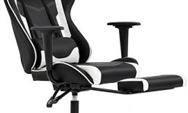 Ergonomic Office Chair PC Gaming Chair Cheap Desk Chair Executive PU Leather Computer Chair Lumbar Support with Footrest Modern Task Rolling Swivel Chair for Women, Men(White)