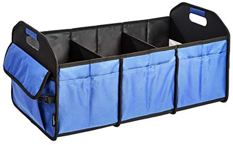 AmazonBasics Collapsible Portable Multi-Compartment Heavy Duty Cargo Trunk Organizer – Blue