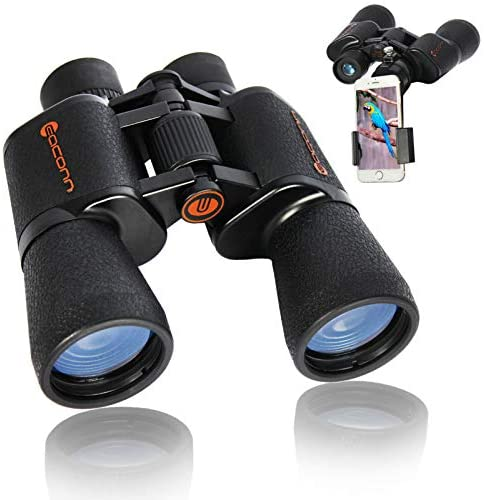 Binoculars for Adults, 10×50 Compact Binoculars for Bird Watching with FMC BAK-4 Porro Prism Lens, Easy to Focus Waterproof Binoculars for Hunting, Hiking, Travel, Wildlife Watching,and Outdoor Sports