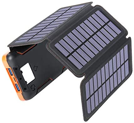 Solar Charger 25000mAh, Hiluckey Outdoor Portable Solar Power Bank with 4 Solar Panels, 18W PD USB C Fast Charge External Battery Pack, 3 USB Ports for Smartphones, Tablets, etc