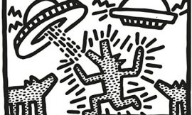 Untitled, 1982 (dogs with UFOs) Poster Print by Keith Haring (14 x 11)