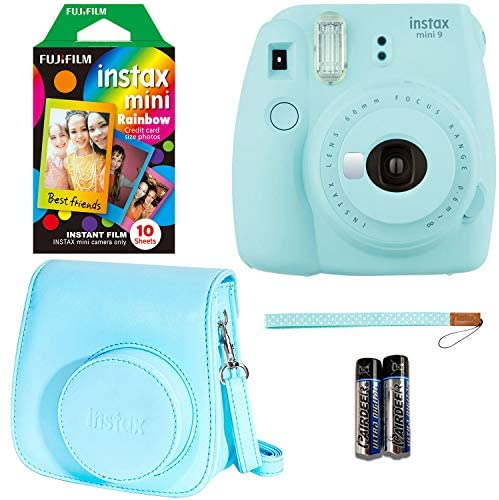 Fujifilm Instax Mini 9 – Ice Blue Instant Camera, 10 Prints Fujifilm Instax Rainbow Instant Mini Film, Fujifilm Instax Groovy Camera Case – Blue