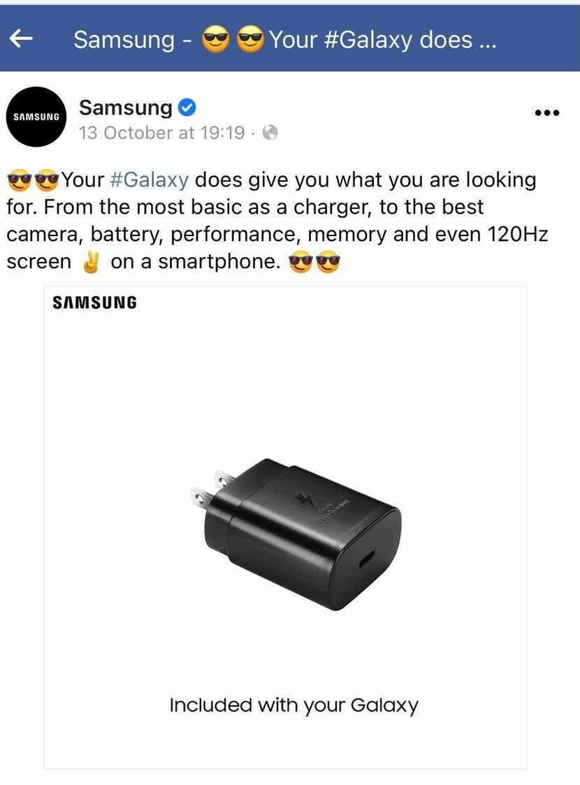 Read more about the article Rumors of Samsung unbundling chargers reinforced by removal of Apple-mocking Facebook post