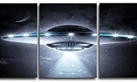 3 Pcs Science Fiction Canvas Painting Abstract UFO Posters and Prints Wall Art Pictures for Living Room Bedroom Home Decoration 50cmx70cmx3 No Frame