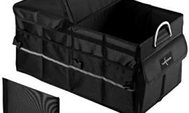 Car Trunk Organizer Heavy Duty Waterproof Collapsible Trunk Storage Organizer Multi Compartments with Foldable Lid Non Slip Bottom