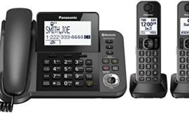PANASONIC Bluetooth Corded / Cordless Phone System with Answering Machine, Enhanced Noise Reduction and One-Touch Call Block – 2 Handsets – KX-TGF382M (Metallic Black)