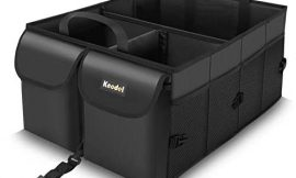 Knodel Car Trunk Organizer, Collapsible Auto Trunk Storage Organizer with Securing Straps, Non Slip Bottom (Black)