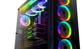 anidees AI Crystal XL RGB V3 Full Tower Tempered Glass PC Case (System is not Included,Water-Cooling Ready , Includes 5 x 120 RGB Fans, 2 x LED Strips – Black AI-CL-XL-AR3 (Case ONLY)