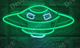 Desung Brand New 14″ Alien UFO Gift Lamp Decorated Acrylic Panel Handmade Custom Design Neon Sign Light WD01