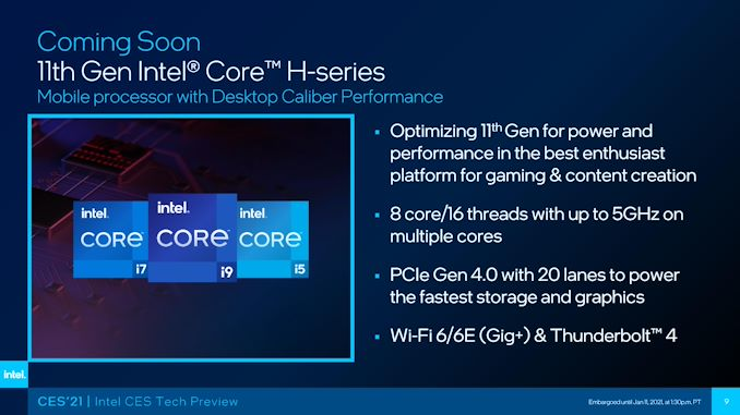 Intel's 8-Core Mobile Tiger Lake-H, at 45 W, to Ship in Q1