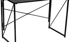 Folding Computer Desk, Study Desks, Working Desktop for Home Office, Corner Laptop Gaming Folding Table Metal Frame by Halter,39 Inches (Black)