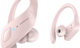 Wireless Earbuds, HolyHigh Bluetooth Earbuds 5.0 ET1 Wireless Headphones IPX7 Waterproof Sport Earbuds with Earhooks Stereo Sound Earphones in Ear for Running Workout Gym(Pink)