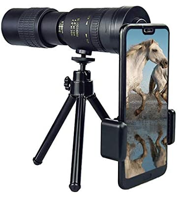 4K 10-300X40mm Super Telephoto Zoom Monocular Telescope, BAK4 Prism Lens, Waterproof Anti-Fog Night Vision Monocular with Smartphone Holder & Tripod for Watching,Hunting,Camping (with Tripod)