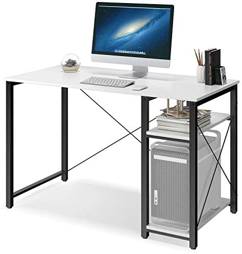 Computer Desk with Shelves,47″ Modern Sturdy Writing Desk for Home Office,Office Desk with Bookshelf,White