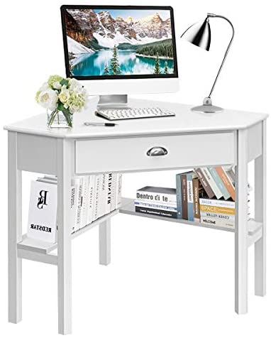Tangkula White Corner Desk, Corner Computer Desk with Drawer, Wood Compact Home Office Desk, Laptop PC Table Writing Study Table, 90 Degrees Corner Table with Storage Shelves