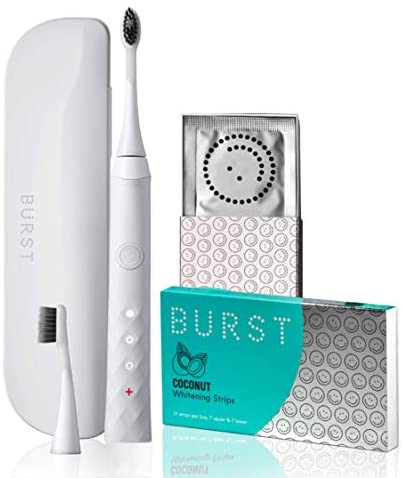 BURST Electric Toothbrush Bundle with Sonic Toothbrush Refill Heads, Whitening Strips, and Travel Case Gift Set, White