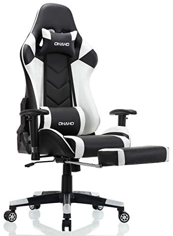 OHAHO Gaming Chair Racing Style Office Chair Adjustable Massage Lumbar Cushion Swivel Rocker Recliner Leather High Back Ergonomic Computer Desk Chair with Retractable Arms and Footrest (Black/White)