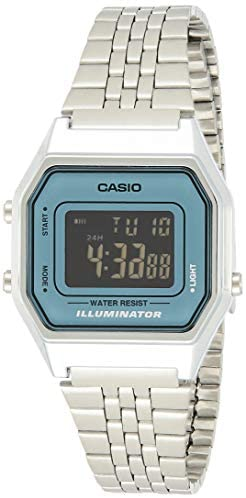 Casio Ladies Mid-Size Silver Digital Retro Watch LA680WA-2BDF
