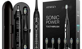 ATMOKO Sonic Power Ultra Whitening Toothbrush, 6 Indicator Dupont Brush Heads & Travel Case – 5 Modes & 40,000 VPM Motor & Wireless Charging – Electric Toothbrush for Adults – Dentists Recommend