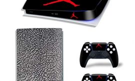 PS5 Console and Controllers Skin Vinyl Sticker Decal Cover for PlayStation 5 Console and Controllers, Digital Version -Jordan Black Cement