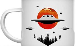 UFO Alien Extraterrestrial Paranormal 12oz Enamel Campfire Mug, Outdoor Camping Coffee Cup, Stars Space Nature Hiking Camp Lover Gift